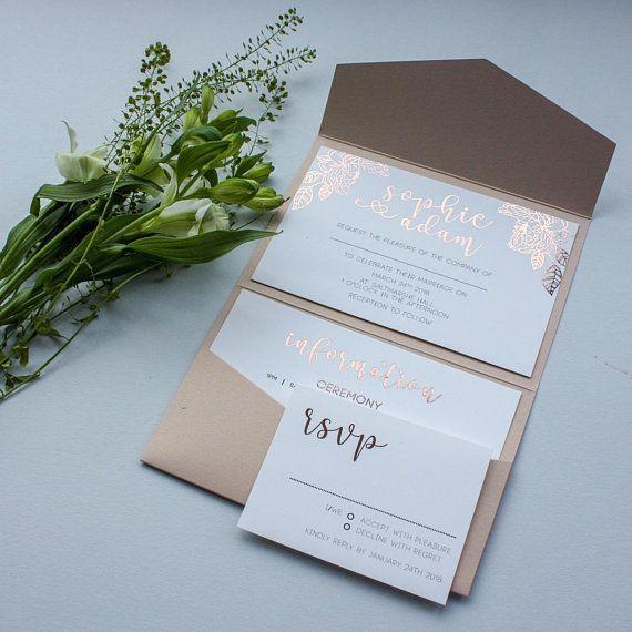 pocketfold Invitaciones Bolsillo invita a Tarjetas de boda estacionario papelería