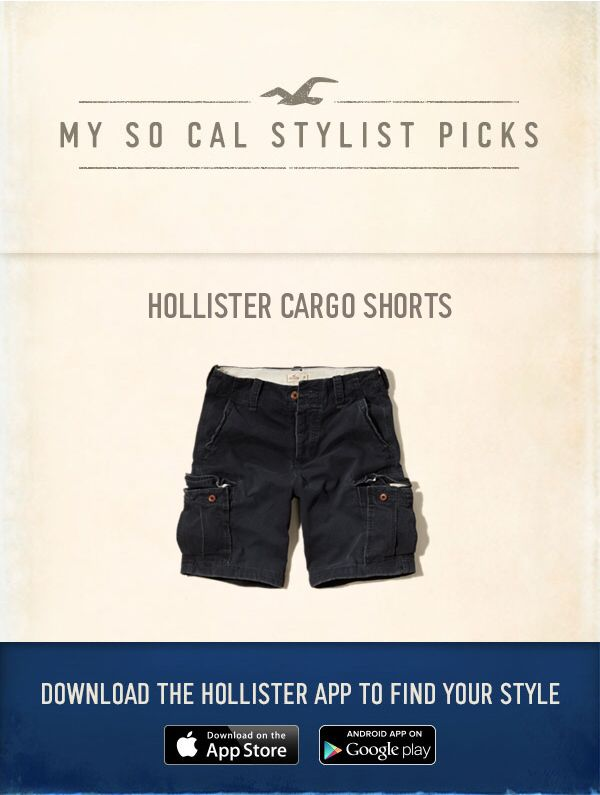 Now Styling: Hollister Cargo Shorts using the new Hollister App, http://hollister.co/1EVjlIs
