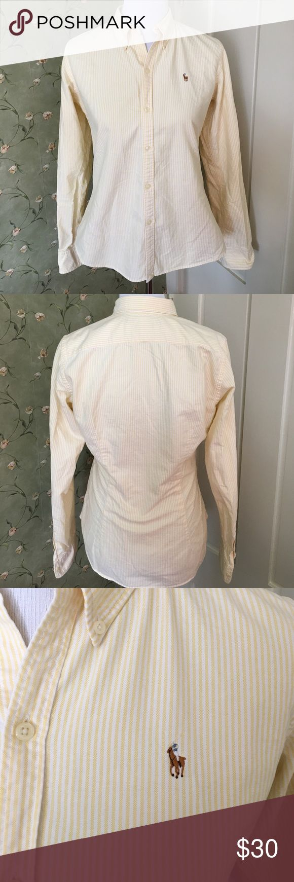Ralph Lauren Slim Fit Oxford Shirt Ralph Lauren Slim Fit Oxford Shirt. Yellow and White striped. In like new condition. No rips or stains. Great shirt for casual days with jeans at work. Ralph Lauren Tops Button Down Shirts