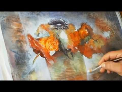 Como pintando un florero con acuarelas y lápices de color