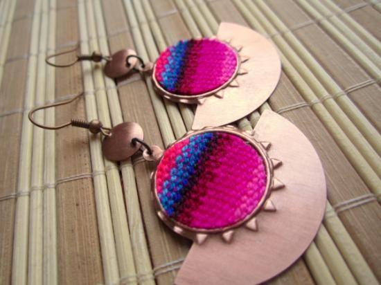Pendientes cobre bohemia tribal