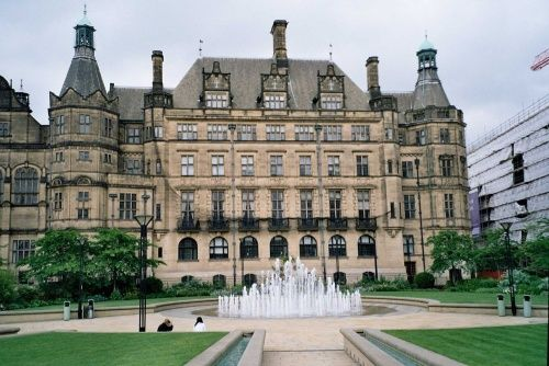 Peace Gardens and Town Hall in Sheffield, South Yorkshire, England best pasty shop across the way!!
