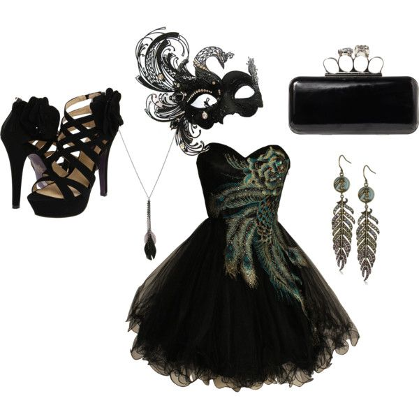 Masquerading outfits in black. Shoes, mask, clutch bag, dress, earing's and neck chain.