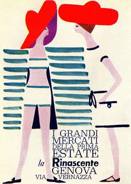 Lora Lamm Illustration   Poster for swimwear fashion from La Rinascente, Genoa. From Graphis Annual 62/63