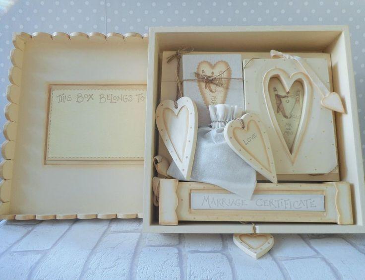 Large Cream Wooden Shabby Chic East Of India Wedding Keep Sake Gift Set 39 99