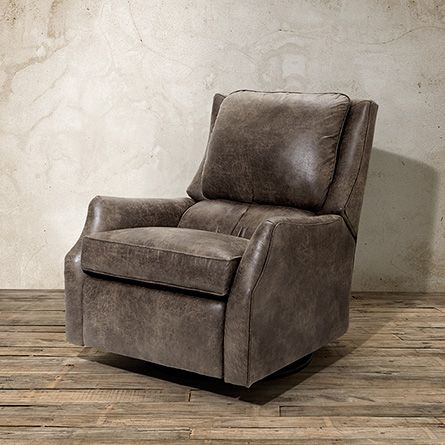 "Alex 30"" Leather Swivel Recliner in Palance Marble 