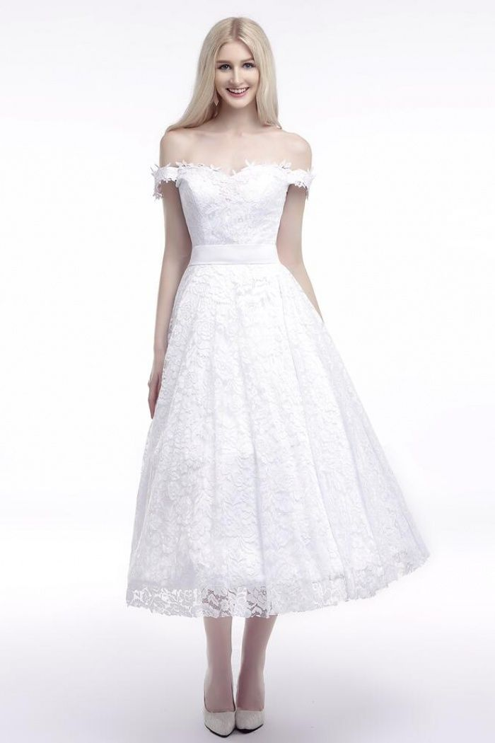 84fc1b0e5179 Off Shoulder A Line Ankle-Length Short White Lace Wedding Dresses in ...