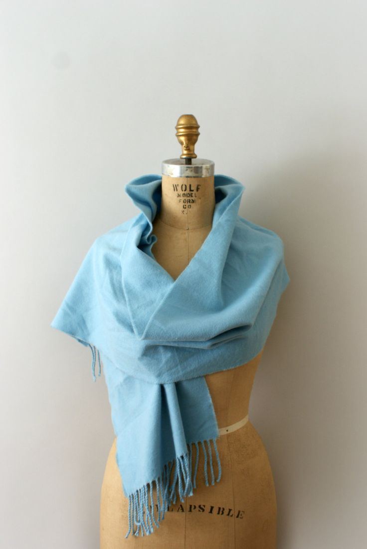 Vintage scarf, beautiful sky blue cashmere body, classic rectangular shape with fringe trim.  - - - M E A S U R E M E N T S - - -  Fit/Size: one