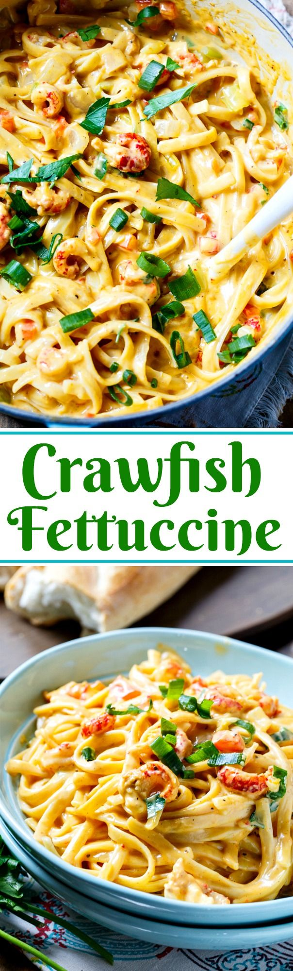 Creamy and cheesy Crawfish Fettuccine- perfect for Mardi Gras!