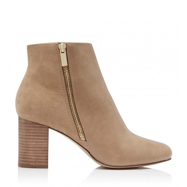 Bernadette Side Zip Ankle Boots (€61) ❤ liked on Polyvore featuring shoes, boots, ankle booties, nude boots, bootie boots, short boots, ankle boots and nude ankle boots