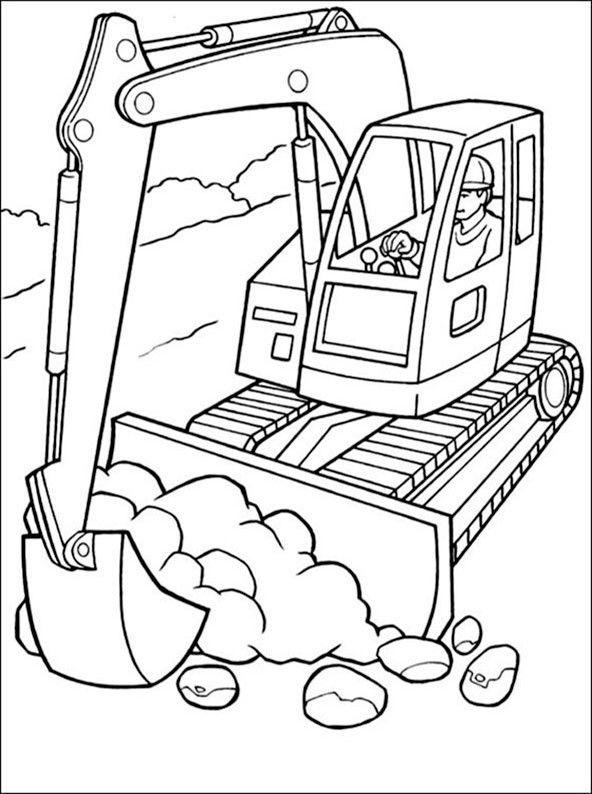 Bagger 7 Ausmalbild Kinder Malbuch Ausmalbild Ausmalbilder Bagger