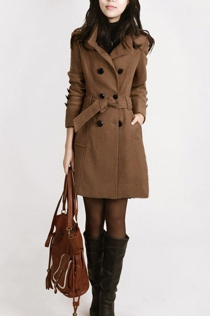 Standing Collar Double Breasted Belted Coat OASAP.com