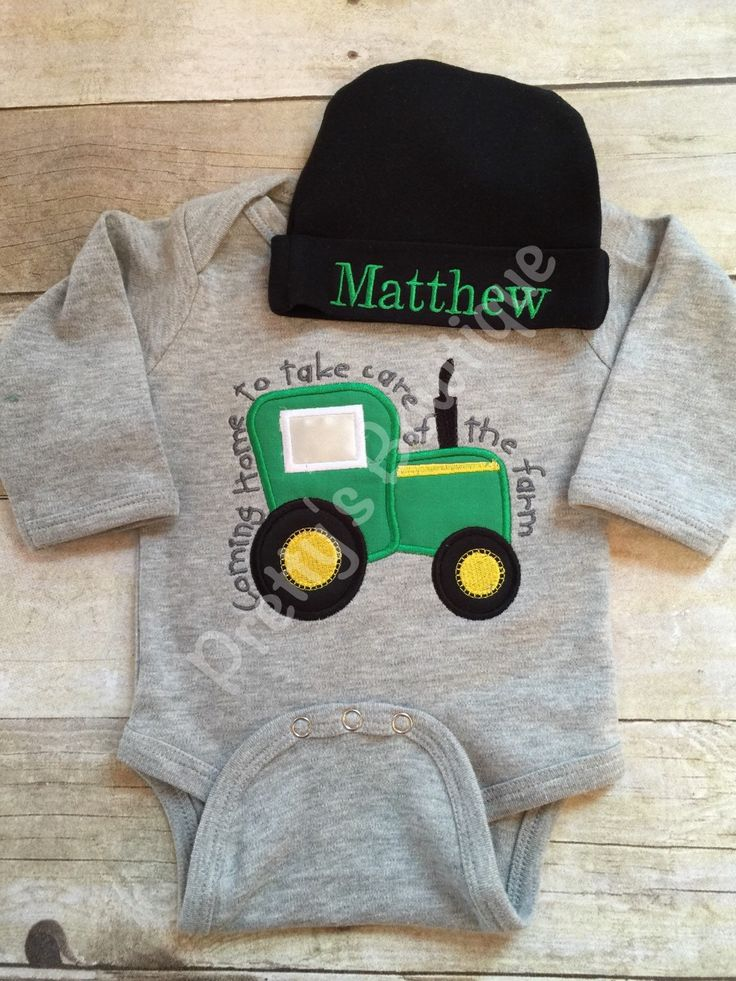 Baby Boy Coming Home Outfit -- Coming home to take care of the farm bodysuit with Hat with Embroidered Name by PrettysBowtique on Etsy https://www.etsy.com/listing/265271923/baby-boy-coming-home-outfit-coming-home