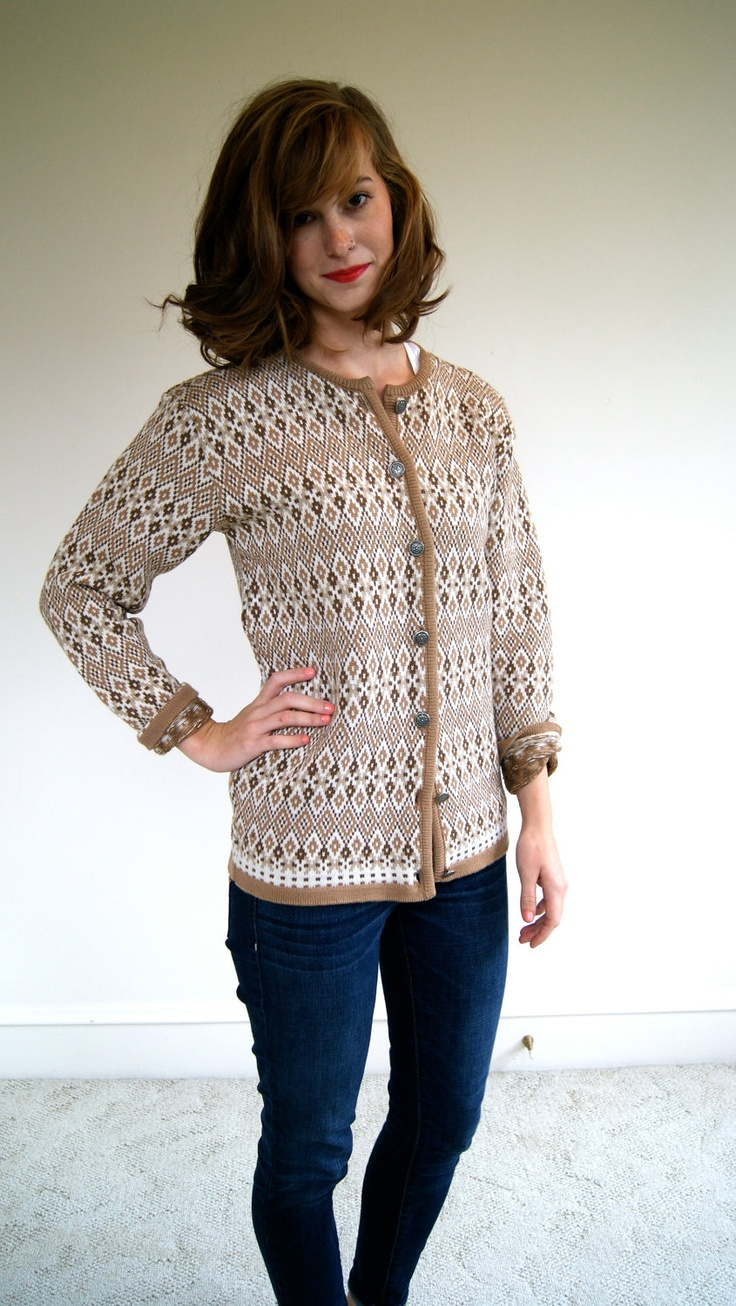 Beautifully intricate knit wool cardigan from Figgjo circa 1970s in tones of cream, caramel, and mocha.