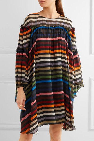 Sonia Rykiel - Ruffled Striped Silk-chiffon Dress - Red - FR