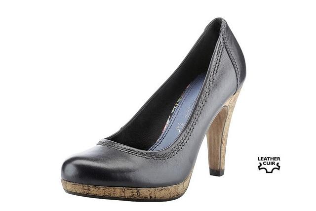 Black Beauty: Sexy High-Heels mit trendigem Absatz im Kork-Look    http://marcotozzi.com/kollektion-detail-marco-tozzi-schuhe-stiefel-pumps-damenschuhe-kinderschuhe.php?id=1459