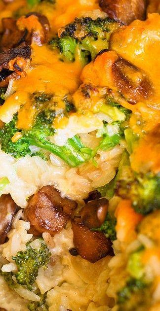 Cheesy Broccoli and Mushroom Casserole with Rice.