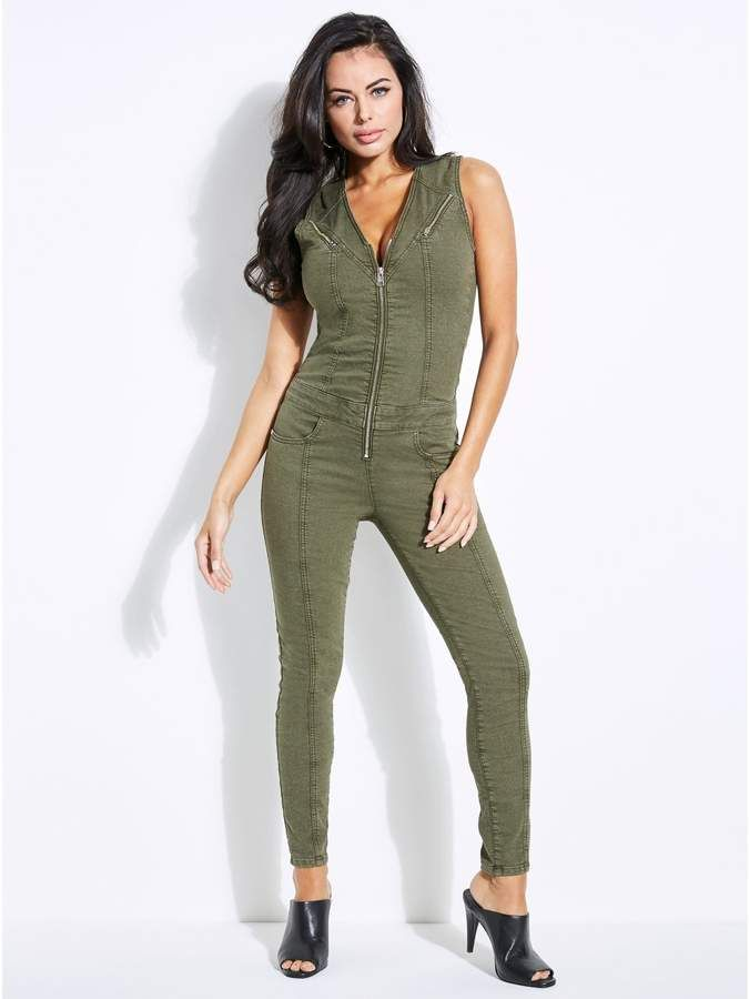 cc9bb2ca6aa2 GUESS Women s Cara Zip-Front Denim Jumpsuit