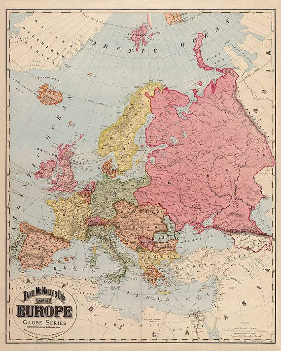 Old map of Europe, 1896