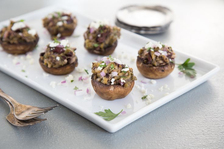 Olive and Feta Stuffed Mushrooms for Super Bowl Parties