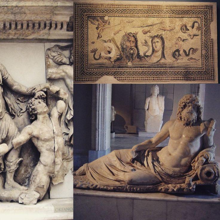OCÉANO: Titán que personifica al océano mundial. Hijo de Urano y Gea. Se le suele representar con el torso y brazos musculosos, con barba larga, cuernos, y a veces, con pinzas de cangrejo y con la parte inferior del cuerpo de una serpiente. Descendencia: *Con Gea: Creúsa y Triptólemo. *Con Theia: Cercopes. *Con Tetis, su esposa: Oceánidas y Oceánides. #Magarte  #Historiadelarte #arthistory #mitologia #mythology #mitologiaclasica #mitologiagriega #mitologiaromana #titanes #oceano 35/365