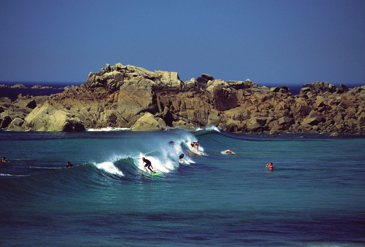 Surfing at Portinfer, Guernsey.