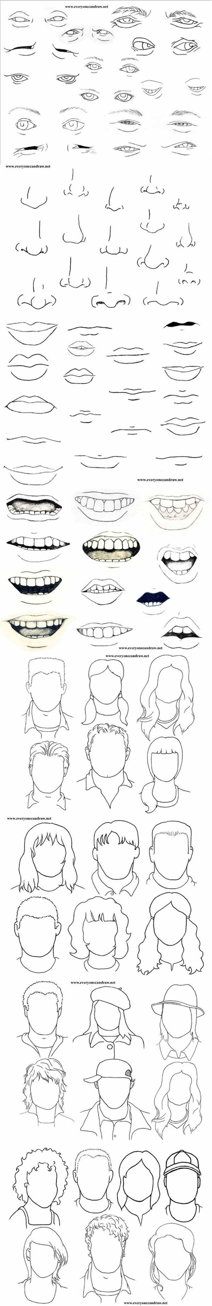 Different ways to draw human features http://www.thingstodraw.info/101-worlds-most-easy-and-cool-things-to-draw/