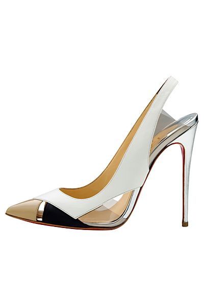 Christian Louboutin White, Nude & Black Slingback Sandal Spring-Summer 2014 #CL #Louboutins #Shoes