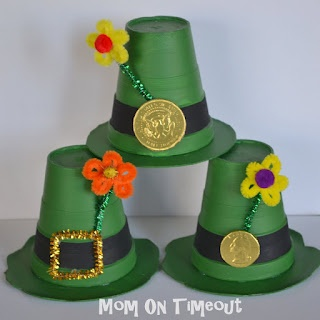 I just love these little Leprechaun Hats!  Made from a foam cup!  A great St. Patty's day craft for the kids, or a great little party favor.  You could fill the hat with some special treats!  Find the instructions at Mom on Timeout.