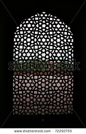 stock photo : Detail of a window at the  Humayun tomb in New Delhi
