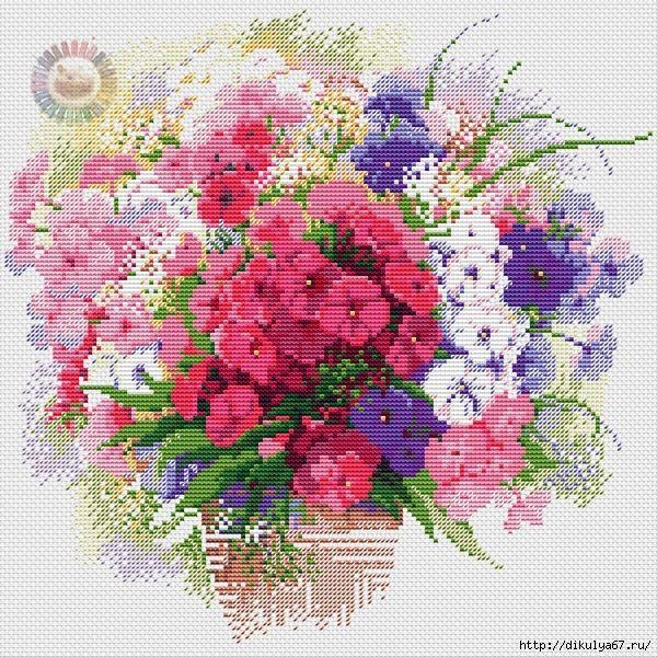 Flower Baskets Cross Stitch Charts : Best stitch flower vase basket images on
