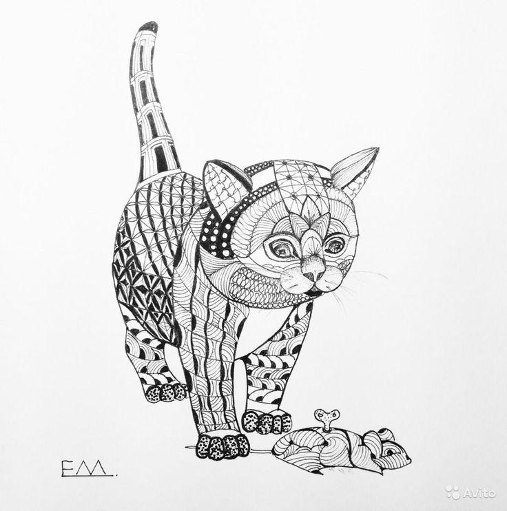 """Елена Мочалина. Авторская работа """"Игра в кошки мышки"""", графика, тушь, перо. Размер 20 х 20 см. Работа оформлена, рама деревянная, оргстекло. - 2900 руб."""