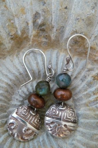 Jill Rockwell Metal & Bead Arts: Sweet Nothing Silver Earrings - nice FWP combo