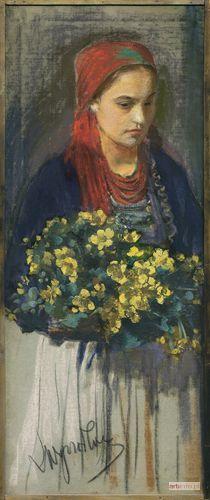 Aukcja katalogowa, Aukcja Sztuki Dawnej, Leon WYCZÓŁKOWSKI, DZIEWCZYNA Z KACZEŃCAMI, ok. 1900
