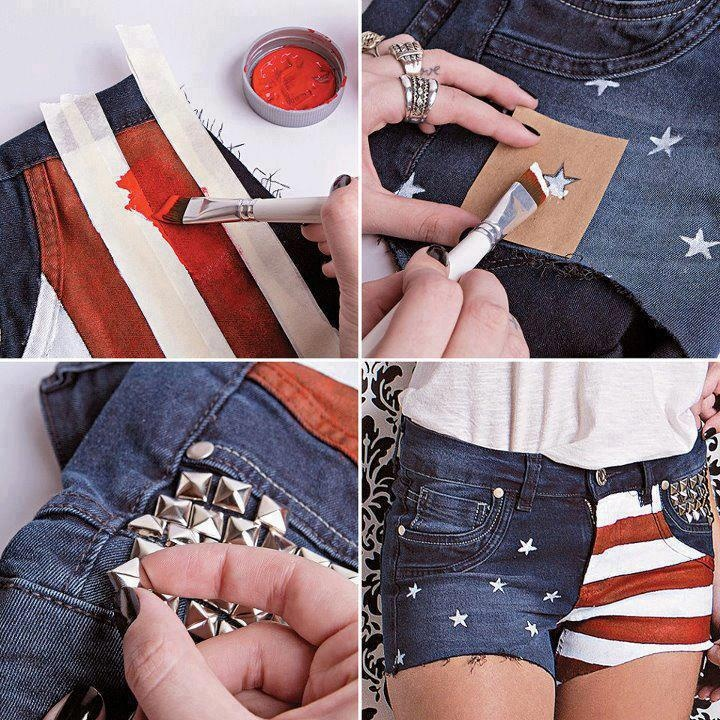 Faça seu short com a bandeira americana