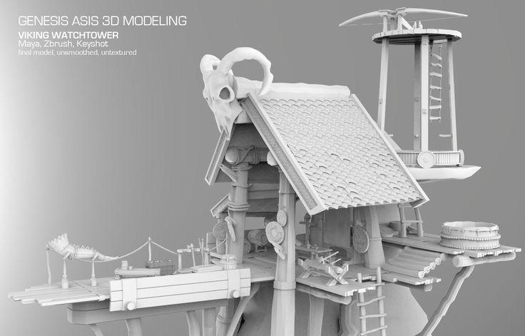 Viking Watchtower, Genesis Asis on ArtStation at https://www.artstation.com/artwork/viking-watchtower