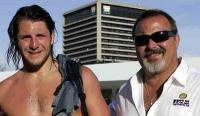 Water polo player Tony Azevedo, left, and his father, Ricardo Azevedo.