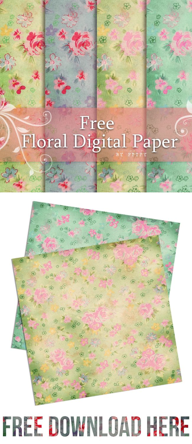 Free Digital Scrapbooking Paper- Floral Love - Free Pretty Things For You