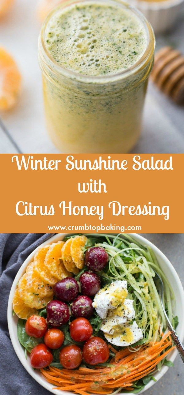 Winter Sunshine Salad is a mix of greens, veggies and fruit, tossed with a simple Citrus Honey Dressing made with clementines, honey, extra virgin olive oil, red wine vinegar and parsley. #citrus #honey #salad #dressing