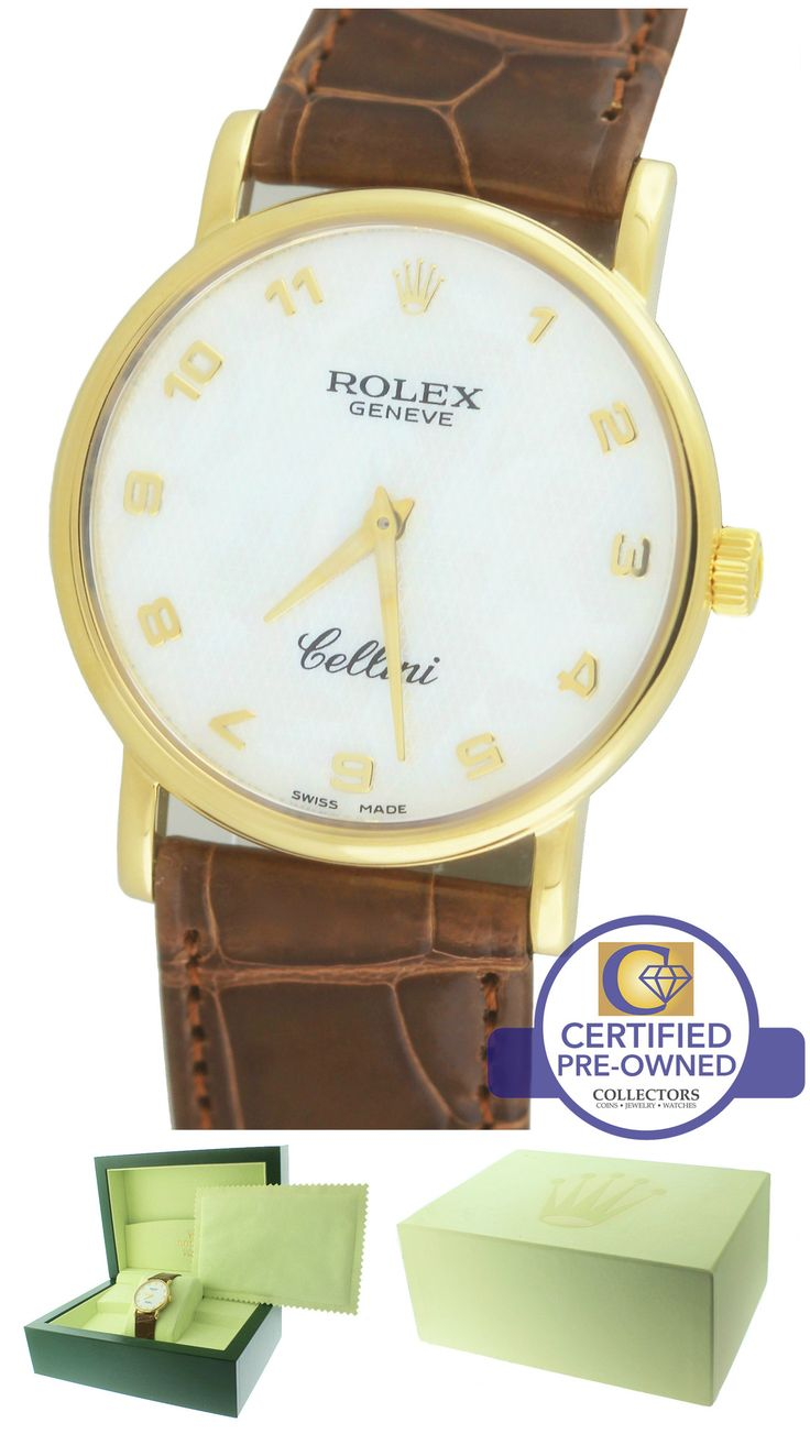 MINT Rolex Cellini Classic MOP Arabic 18K Yellow Gold Black 5115 32mm Watch 5116