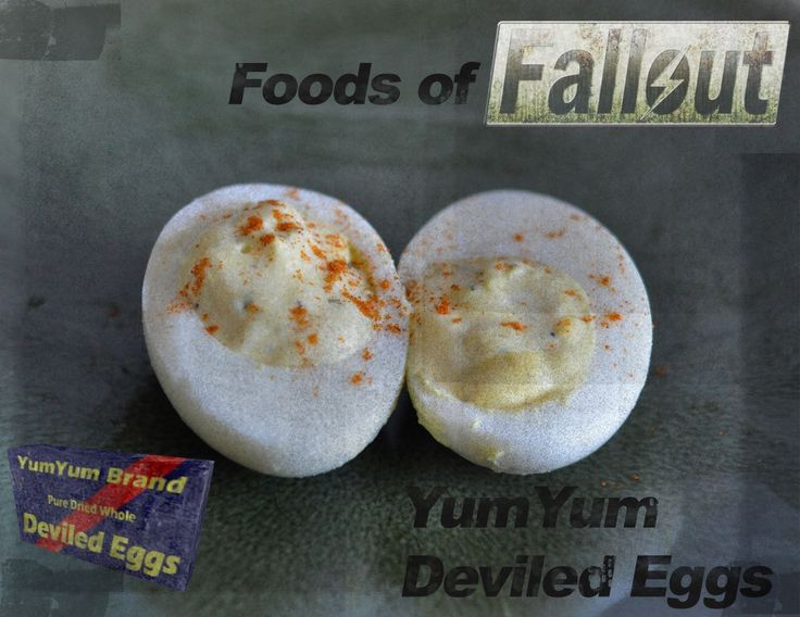 Survive the Wasteland or use up all those hard boiled eggs from Easter, your choice! Featured in Fallout 3 and Fallout: New Vegas. Thankfully this version isn't irradiated. 12 eggs 1/2 cup mayonnaise 2 tablespoons milk 1 teaspoon parsley 1 green onion, finely chopped 1/2 teaspoon mustard powder 1/4 teaspoon dill weed 1/4 teaspoon garlic salt 1/4 teaspoon paprika, plus more for dusting 1/8 teaspoon black pepper Info on YumYum Deviled Eggshttp://fallout.wikia.com/wiki/YumYum_D...