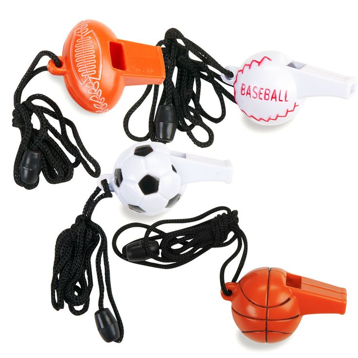 Sport Whistles Assorted Sport Whistles Assorted (4) Weight (lbs) 0 Length (inches) 7.75 Width (inches) 5.75 Height(inches) 1.5