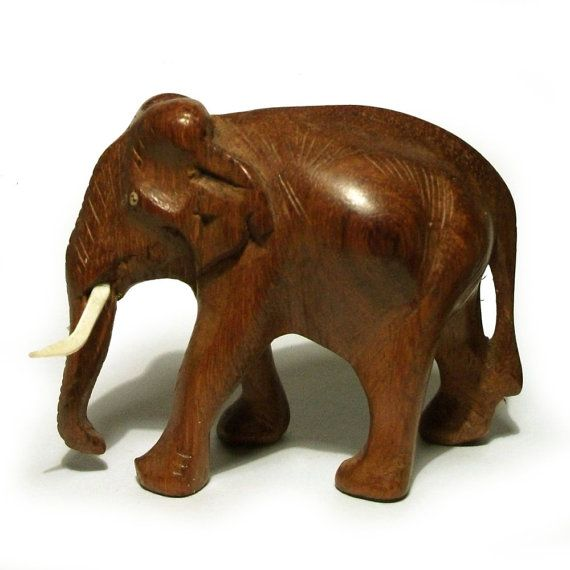 Wooden elephant figurine vintage carved safari animal
