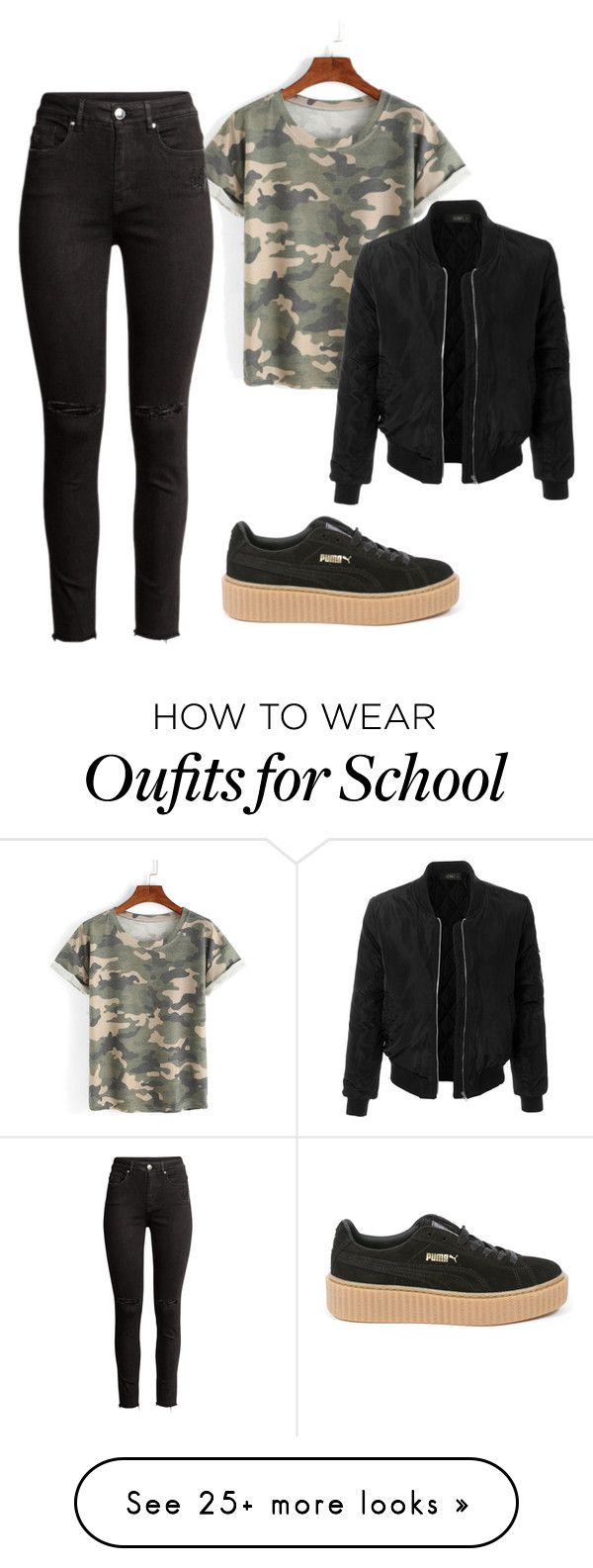 """carmouflage ootd school puma fenty"" by shopaholic02 on Polyvore featuring Puma and LE3NO"