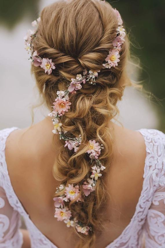 Customised Flower Hair Garland Wedding Hair Flowers Head Wreath Flower Crown Cherry Blossoms Pink White Bridal Wreath Fairy Wreath Magaela Floral Hair Crown Hair Garland Flowers In Hair