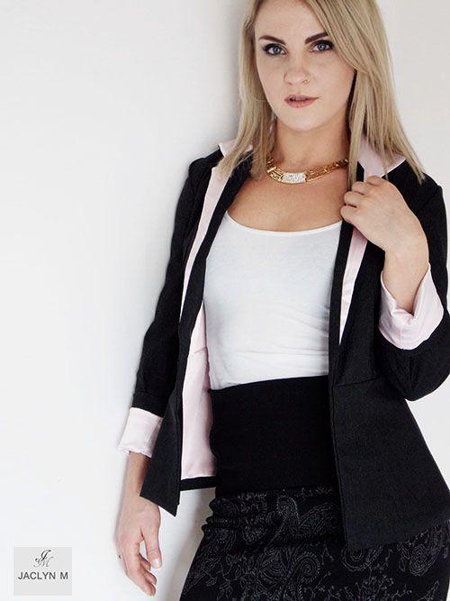 Jaclyn M- Womens wear  Kendall ponti skirt- Elias contrast Blazer