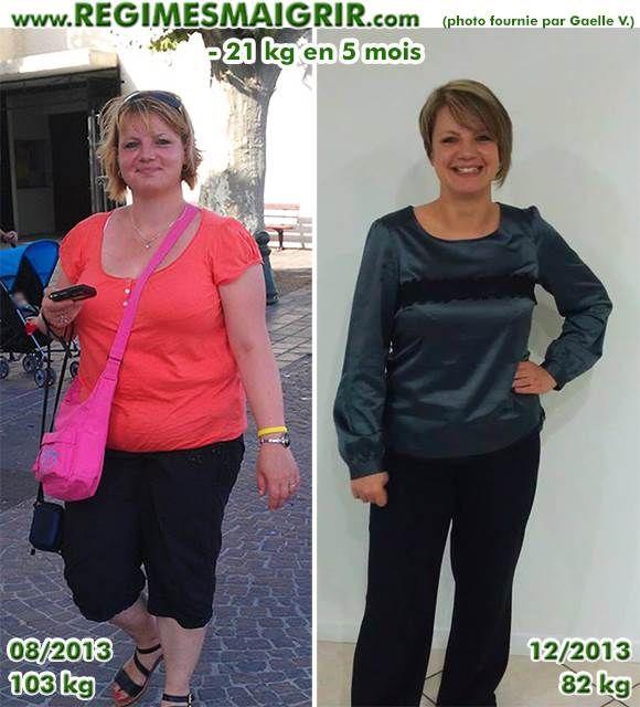 Gaëlle pesait 103 kg avant, et 82 kg après une belle perte de poids                                                                                                                                                                                 Plus