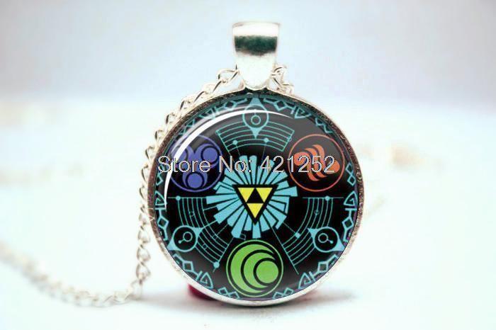 Легенда О Zelda Легенда о Zelda Triforce кулон Ожерелье Zelda кулон Стекло Фотография Кабошон Ожерелье