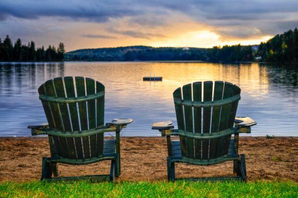 10 fall decor tips - seasonal prep: Beach Chairs, Wooden Chairs, Chair Paintings, Beach Retreat, Beaches, Sunset, Lake