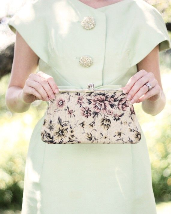 Vintage Tapestry Clutch Purse in Beige with by MomsantiquesNthings